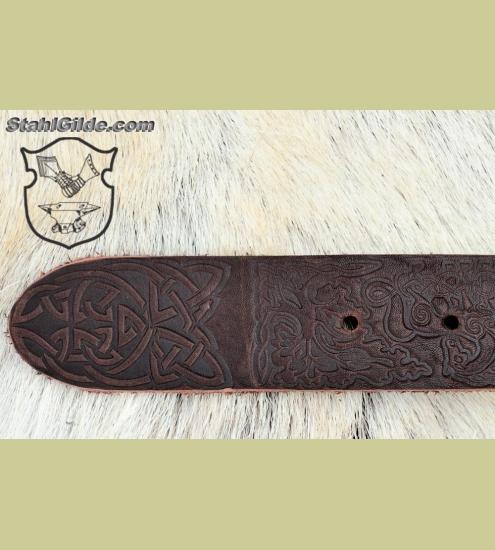 celtic leather belt quot horses quot with regular buckle